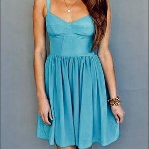 Light Blue Amanda Uprichard Champagne Silk Dress